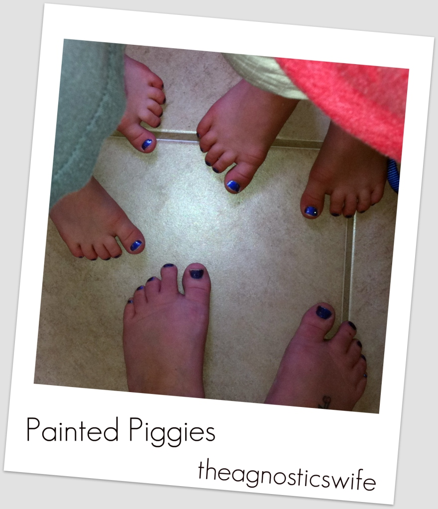 young boys painted toes